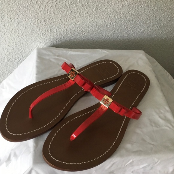 Tory Burch Shoes - Tory Burch red patent leather flip-flops